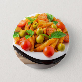 Italian pasta penne in tomato sauce with olives 2 inch round button