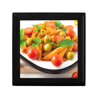 Italian pasta penne in tomato sauce with olives gift box