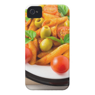 Italian pasta penne in tomato sauce with olives iPhone 4 covers