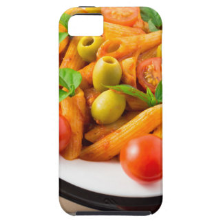Italian pasta penne in tomato sauce with olives iPhone 5 cases