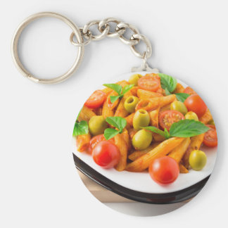 Italian pasta penne in tomato sauce with olives keychain