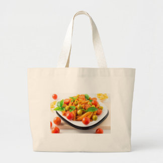Italian pasta penne in tomato sauce with olives large tote bag