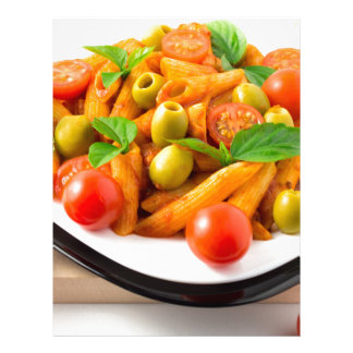 Italian pasta penne in tomato sauce with olives letterhead