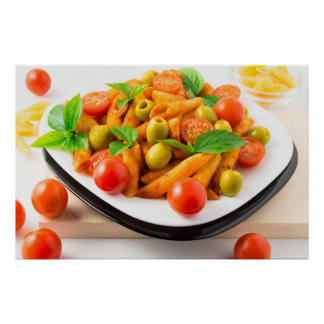 Italian pasta penne in tomato sauce with olives poster