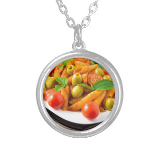 Italian pasta penne in tomato sauce with olives silver plated necklace