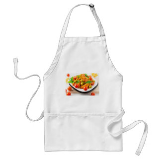 Italian pasta penne in tomato sauce with olives standard apron