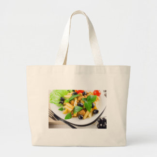 Italian pasta rigatoni with bolognese, beef large tote bag