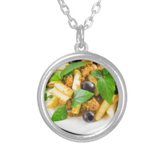 Italian pasta rigatoni with bolognese, beef silver plated necklace