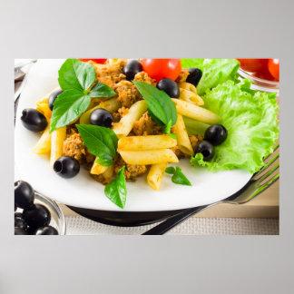 Italian pasta rigatoni with bolognese sauce poster