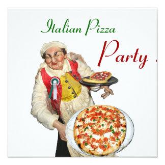 Italian pizza party restaurant green white 5 25 quot square invitation