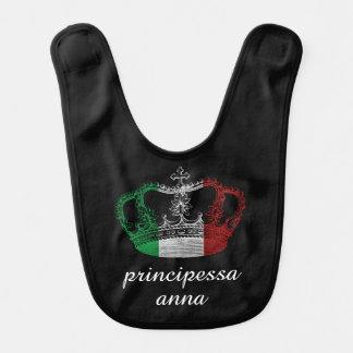 Italian Princess Crown Flag Personalized Baby Bib