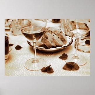 Italian Restaurant: Bread, Wine, Bougainvillea Poster