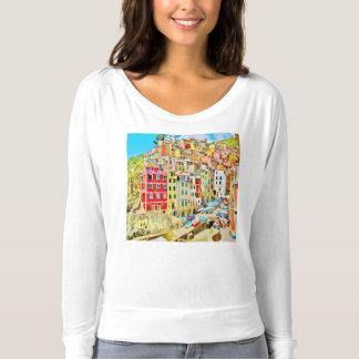 Italian Riviera Fishing Village, Flowy L/S T T-shirt