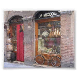 Italian Shop with a Bike Poster