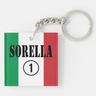 Italian Sisters : Sorella Numero Uno Double-Sided Square Acrylic Keychain