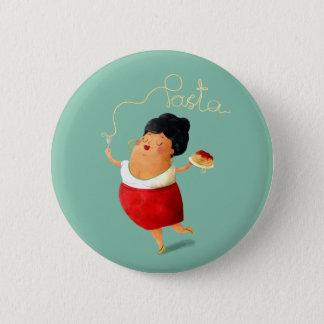 Italian Spaghetti Lady 2 Inch Round Button