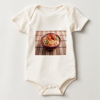 Italian spaghetti with tomato relish and basil baby bodysuit