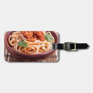 Italian spaghetti with tomato relish and basil bag tag