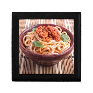 Italian spaghetti with tomato relish and basil jewelry box