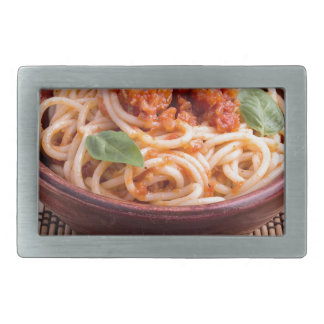 Italian spaghetti with tomato relish and basil rectangular belt buckles