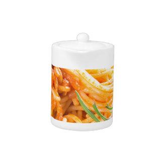 Italian spaghetti with vegetable sauce closeup