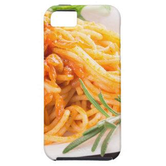 Italian spaghetti with vegetable sauce closeup iPhone 5 cases