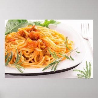 Italian spaghetti with vegetable sauce closeup poster