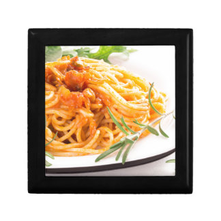 Italian spaghetti with vegetable sauce closeup trinket boxes