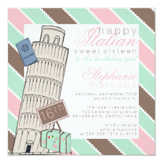 "Italian Spumoni Leaning Tower Sweet 16 Birthday 5.25"" Square Invitation Card"