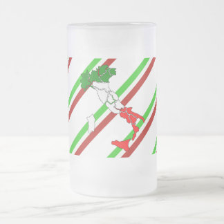 Italian stripes flag frosted glass beer mug