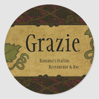 Italian Style - Restaurant/Store Add Round Sticker