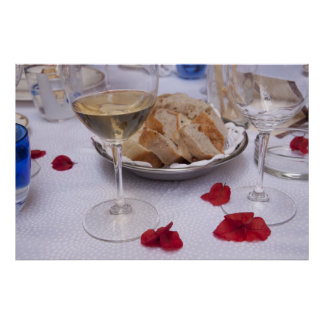 Italian Table: Bread, Wine and Bougainvillea Petal Poster