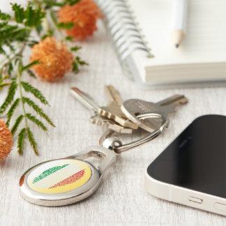 Italian touch fingerprint flag Silver-Colored oval keychain
