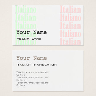 Italian Translator or Interpreter Business Cards