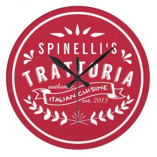Italian Trattoria Your Name Restaurant Logo Large Clock