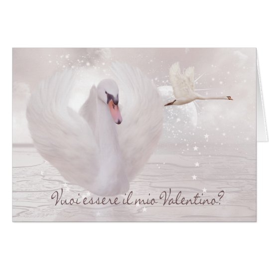 Italian Valentine's Day Card - Swan's In Pink