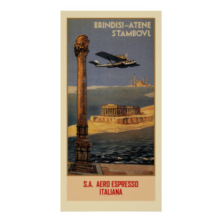 Italian vintage plane travel ad Brindisi Istanbul Poster