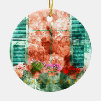 Italian Window With Open Wooden Shutters Round Ceramic Ornament