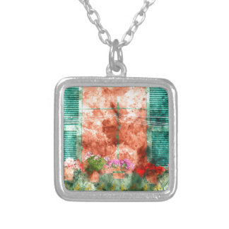 Italian Window With Open Wooden Shutters Silver Plated Necklace