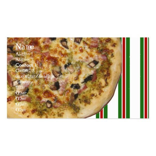 Italiano, Name, Address 1, Address 2, Contact 1... Business Cards