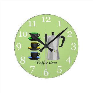 Italion Espresso Maker Coffe Lovers Design Round Clock