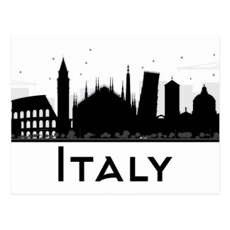 Italy Black and White Skyline Postcard