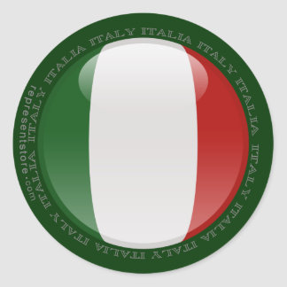 Italy Bubble Flag Classic Round Sticker