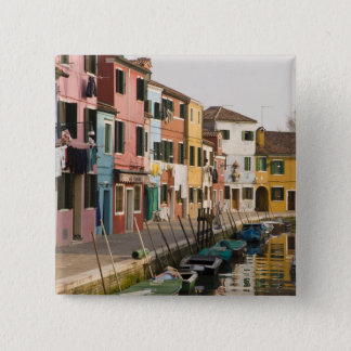 Italy, Burano. Colorful houses of line a 2 Inch Square Button