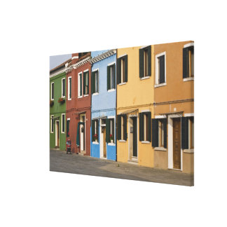 Italy, Burano. Colorful row of homes and empty Stretched Canvas Prints