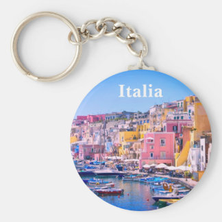 Italy Colorful Fishing Harbor Travel Souvenir Basic Round Button Keychain