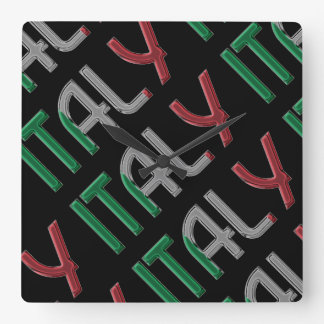 Italy Country Italian Flag Colors Typography Square Wall Clock