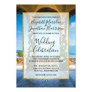 Italy Elegant Blue Green Gold Wedding Invitation