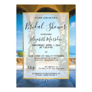 Italy Elegant Gold Blue Green Bridal Shower Card