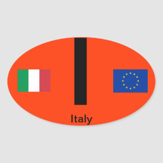 Italy-  Euro-Style Oval Sticker